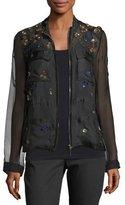 Elie Tahari Katya Floral-Appliqué Silk Jacket