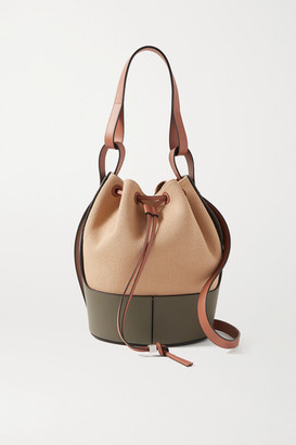 Loewe Balloon Medium Canvas And Leather Bucket Bag - Army green