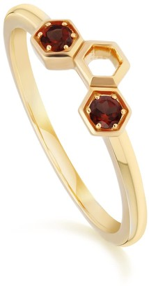 Honeycomb Garnet Ring In Yellow Gold