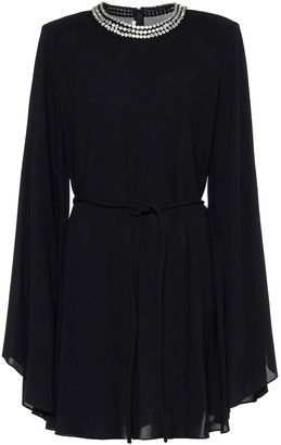 Stella McCartney Embellished crepe cape minidress