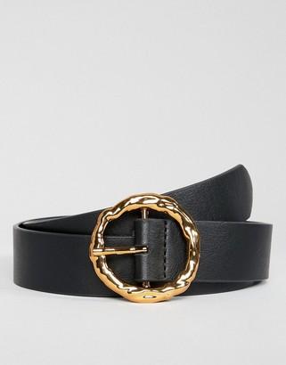 Asos Design DESIGN hammered gold circle waist & hip jeans belt-Black