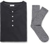 Schiesser Karl Heinz Cotton-Jersey Henley T-Shirt and Stretch Cotton-Blend Socks Set