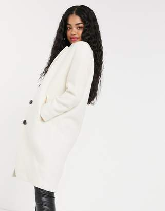 Pimkie button front car coat in white