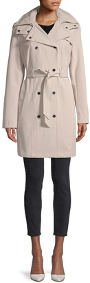 Calvin Klein Double-Breasted Hooded Trench Coat