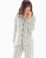 Soma Intimates Cotton Blend Long Sleeve Pajama Top Chic Scroll Ivory