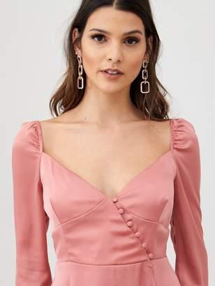 Little Mistress Satin Wrap Skirt Midi Dress
