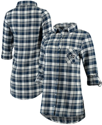 Unbranded Women's Concepts Sport Navy/Gray Los Angeles Rams Piedmont Flannel Button-Up Long Sleeve Shirt