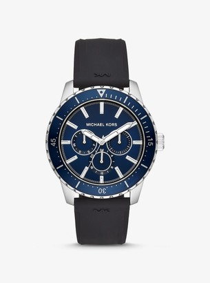 Michael Kors Oversized Cunningham Silver-Tone and Silicone Watch