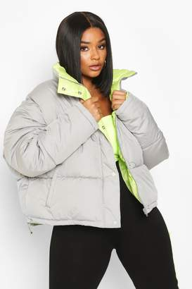 boohoo Plus Neon Lined Cropped Puffer Jacket