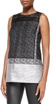 Lafayette 148 New York Erica Sleeveless Mixed Media Blouse, Black Multi