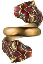 Gucci Tiger Head Ring With Enamel And Crystals