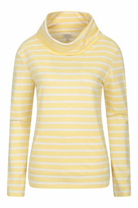 Mountain Warehouse Devon Womens Stripe Cowl Neck Top - Half Zip Ladies Spring Top Lightweight Shirt Breathable Kangaroo Pocket - for Travelling Hiking