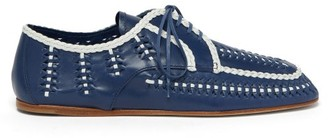 Prada Piped And Woven Leather Boating Shoes - Womens - Blue