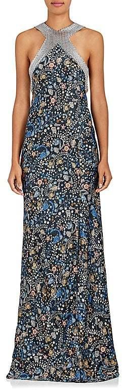 Paco Rabanne Women's Chain-Mail & Floral Silk Gown