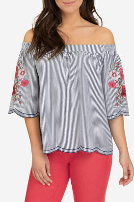 Tribal Off shoulder embroidered blouse