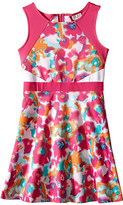 Us Angels Scuba Sleeveless Fabric Color Block Bodice w/ Full Skirt (Big Kids)