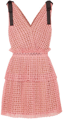 Self-Portrait Tiered Bow-embellished Guipure Lace Mini Dress