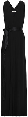 Halston Front-split Belted Crepe De Chine Gown