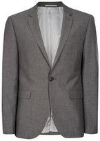 Topman Mid Gray Textured Skinny Fit Suit Jacket