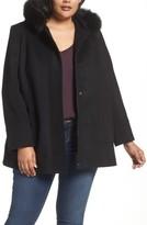 Sachi Women's Hooded Wool Blend Coat With Genuine Fox Fur Trim