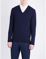 Boss V-neck Knitted Wool Jumper