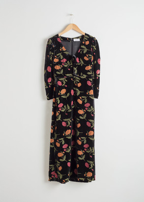 And other stories Velvet Floral Midi Dress