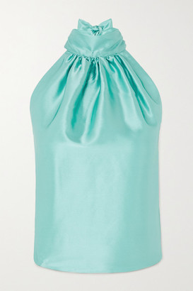 HARMUR Open-back Silk-satin Halterneck Top - Turquoise