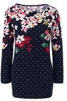 Lands' End Women's Petite Art T-shirt-Radiant Navy Floral Dot