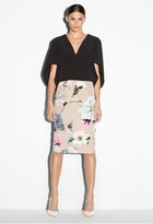 Milly Paper Floral Print Midi Skirt