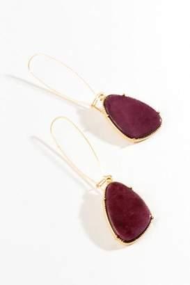 francesca's Naya Stone Drop Earrings - Burgundy