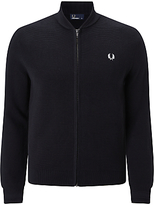 Fred Perry Bomber Neck Zip Through Cardigan, Black