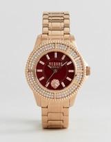 Versace Sh729 Toyko Crystal Bracelet Watch In Rose Gold