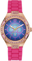 GUESS Women's Pink Silicone Strap Watch 40mm U0777L1