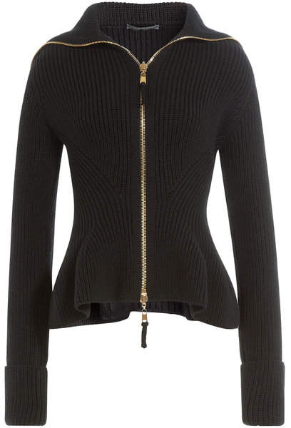 Alexander McQueen Zipped Wool Jacket with Peplum