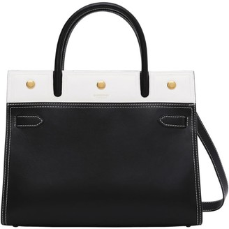 Burberry Small Leather Two-Tone Title Bag