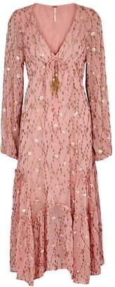 Free People Celina Embellished Fil Coupe Midi Dress