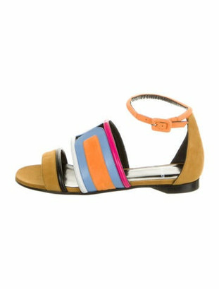 Pierre Hardy Suede Colorblock Pattern Gladiator Sandals w/ Tags Yellow