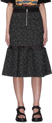 Sacai Zip front tweed balloon skirt
