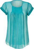 L'Agence LAgence Lagoon Cap Sleeve Pleated Silk Top