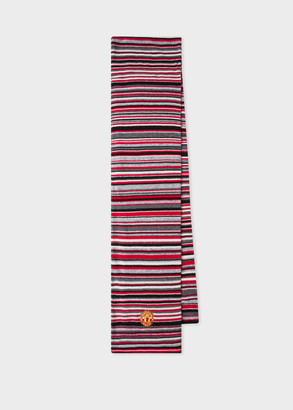 Paul Smith & Manchester United Red Striped Wool-Cashmere Scarf