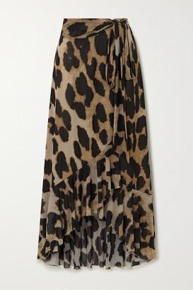 Ganni Ruffled Leopard-print Stretch-mesh Wrap Skirt - Leopard print