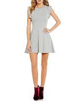 Copper Key Ruffle Sleeve A-Line Dress