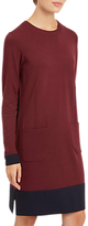 Jaeger Wool Colour Block Knitted Dress, Wine