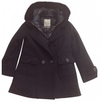 Moncler Fur Hood Black Wool Coat for Women