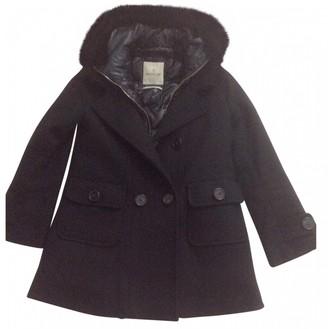 Moncler Fur Hood Black Wool Coats