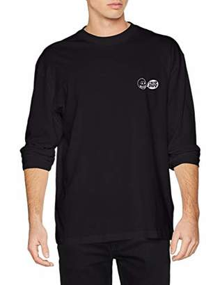Cheap Monday Men's Setting LS tee Speech Logo Long Sleeve Top, Black, X-Small (Size:)