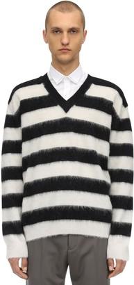 Lanvin Striped V-neck Wool Sweater