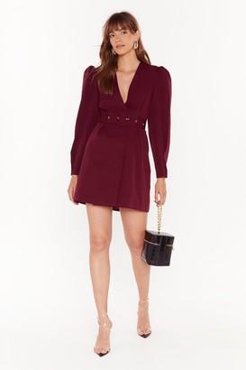 Nasty Gal Womens Keep Me in the Loop Puff Sleeve Blazer Dress - Burgundy