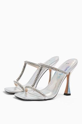 Topshop RANA Silver Diamante T Bar Sandals