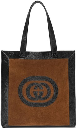 Gucci brown Ophidia suede large tote